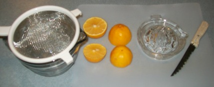 getting organized for juicing lemons